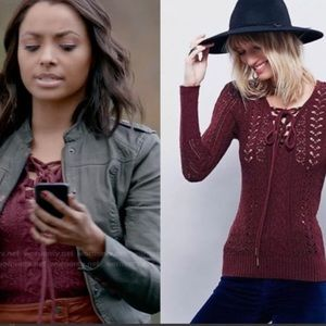 Free People Knitted Lace up Long Sleeve Sweater